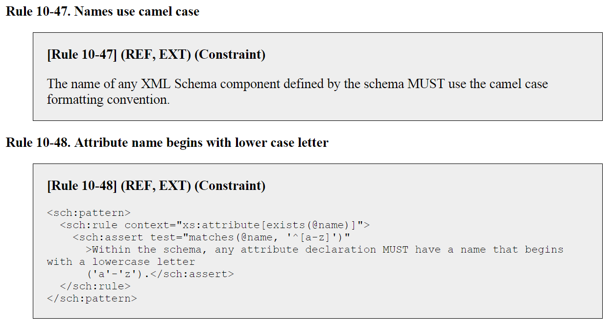 "NDR conformance target ""reference schema document"" example rules"