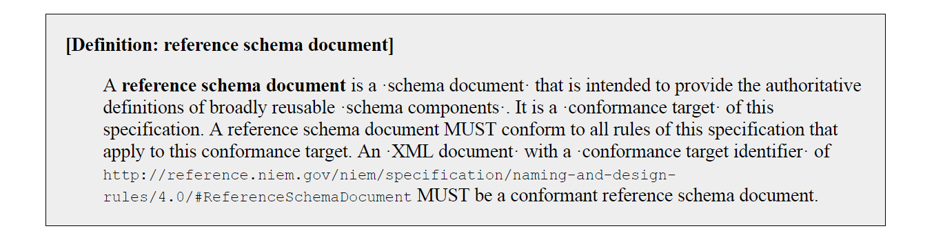 "NDR conformance target ""reference schema document"""